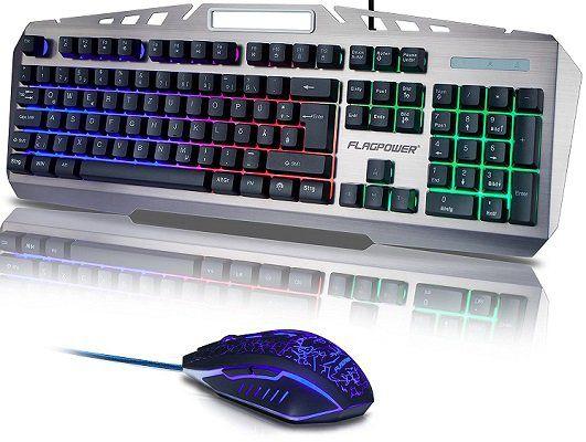 FLAGPOWER Gaming Tastatur & Maus im Bundle mit LED Beleuchtung für 12€ (statt 30€)