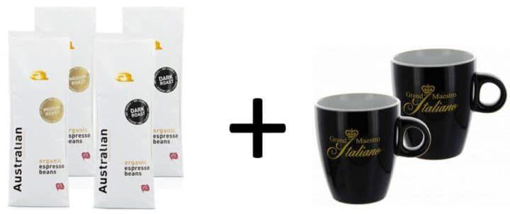 Probierpaket Australian Roast Kaffeebohnen (4 x 750 g) + 2 Tassen für 51,54€