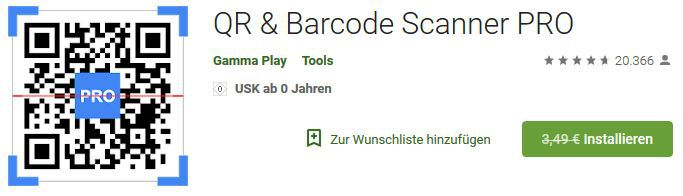 QR & Barcode Scanner PRO (Android) gratis statt 3,49€