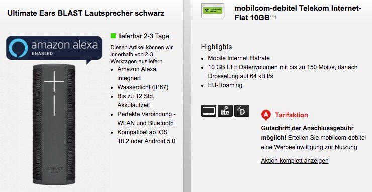 Telekom 10GB LTE Datentarif für 15,99€ mtl. + UE Blast Lautsprecher für 29€