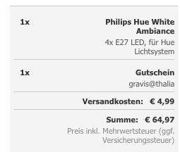4er Pack Philips Hue White Ambiance E27 für 64,97€ (statt 96€)