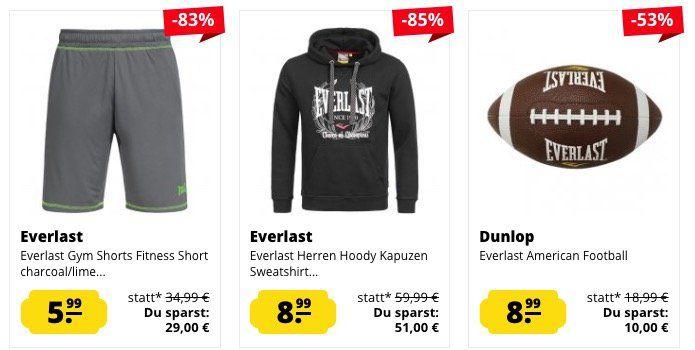 Everlast Sale bei SportSpar   z.B. T Shirts, Poloshirts und Shorts ab je 5,99€