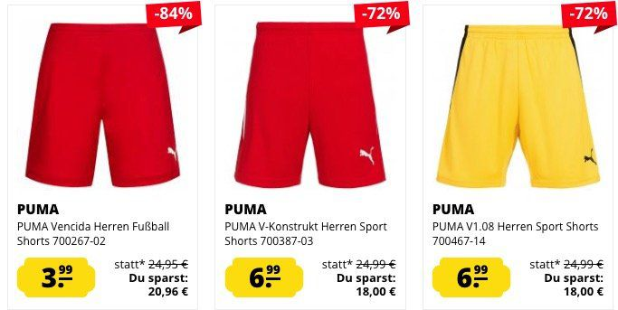 Sommer  und Sport Shorts ab 3,99€ zzgl. VSK bei SportSpar