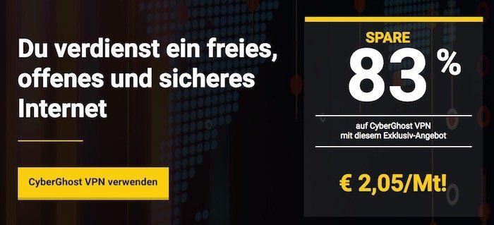 4 Jahre CyberGhost VPN (bis 7 Geräte!) für 99€   nur 2,05€ im Monat