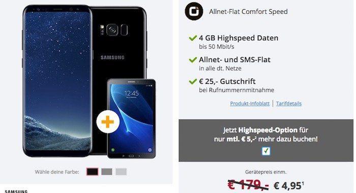 Samsung Galaxy S8 Plus für 4,95€ + gratis Samsung Galaxy Tab A 10.1 + Vodafone Flat mit 4GB Highspeed von Otelo für 29,99€ mtl.