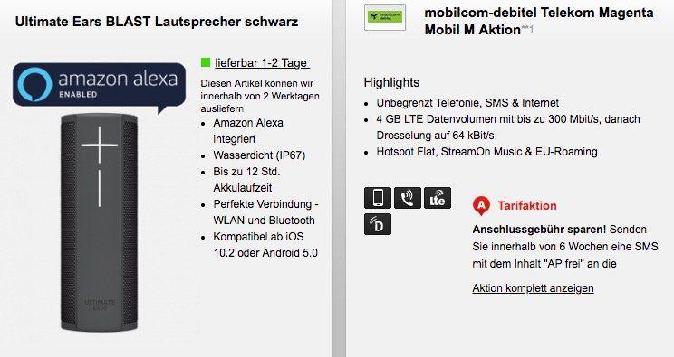 Telekom Magenta Mobil M  4GB LTE (junge Leute 6GB) + StreamOn Music 25,95€mtl. + UE Blast Lautsprecher für 1€