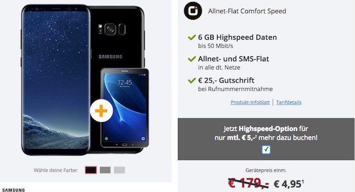 Samsung Galaxy S8 Plus für 4,95€ + gratis Samsung Galaxy Tab A 10.1 + Vodafone Flat mit 6GB Highspeed von Otelo für 29,99€ mtl.