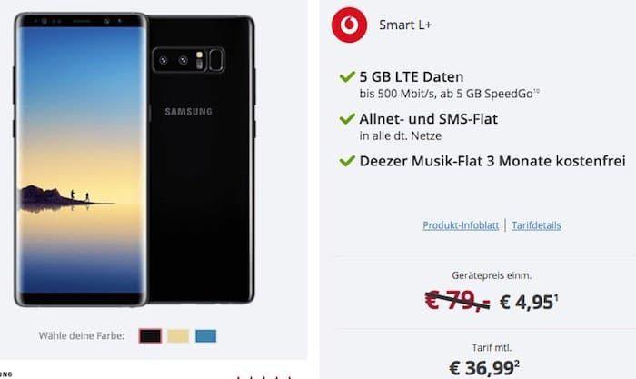 Samsung Galaxy Note 8 für 4,95€ + Vodafone Smart L+ mit 5GB LTE für 36,99€ mtl.