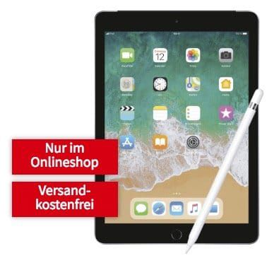 Apple iPad 2018 mit 128GB + Apple Pencil für 129€ + Telekom LTE Datentarif mit 10GB für 29,99€ mtl.