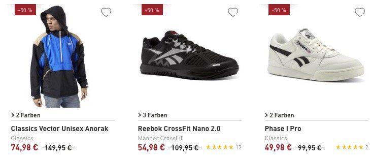 Reebok Flash Sale mit exakt 50% Rabatt   z.B. Reebok Phase I Pro Sneaker für 54,93€ (statt 79€)