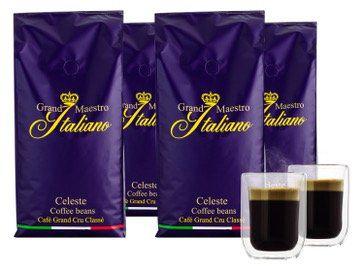 Wieder da: 4kg Grand Maestro Italiano Celeste Kaffeebohnen + 2 doppelwandige Gläser für 29€ (statt 56€)