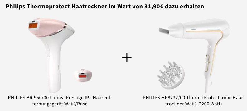 Philips BRI950 Lumea Prestige IPL Haarentfernungsgerät + Ionic Haartrockner ab 309€ (statt 348€)