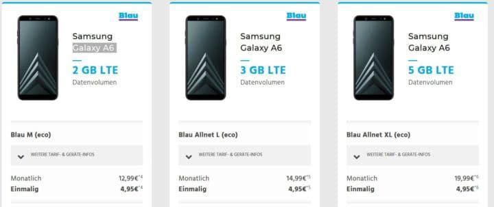 Samsung A6 für 4,95€ + 300Min/SMS + 2 GB LTE O2 ab 12,99€ mtl.