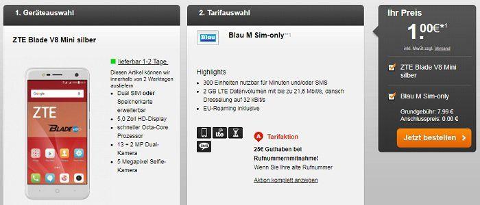 ZTE Blade V8 Mini für 1€ + Blau M mit 300 Freiminuten & 2 GB LTE Volumen für 7,99 mtl.