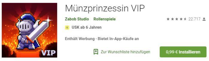 Coin Princess VIP (Android) gratis statt 0,99€