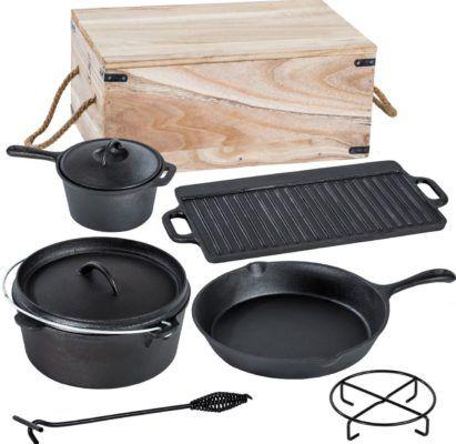 Dutch Oven   7 teiliges Kochtopf Set aus Gusseisen in Holzkiste für 56,99€ (statt 72€)   nur eBay Plus