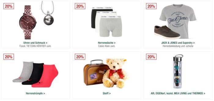 Galeria Kaufhof Sonntagsangebote   20% Rabatt auf Steiff, Uhren  und Schmuck, Pfannen, Bademoden und vieles mehr