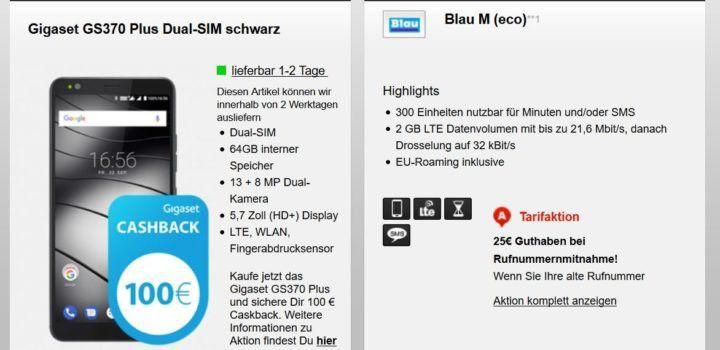 Gigaset GS370 plus Smartphone + 100€ Cashback + O2: 300 Min. + 2GB LTE für 12,99€ mtl.