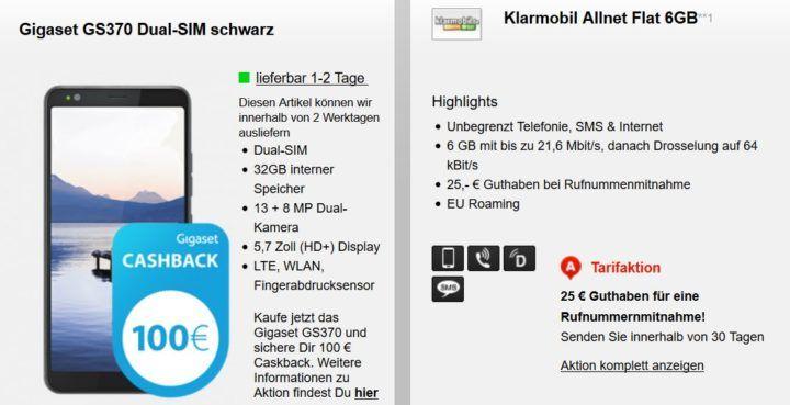 Gigaset GS370 für 1€ + Vodafone AllNet & SMS Flat + 6GB für 17,99€ mtl. +140€ Cashback