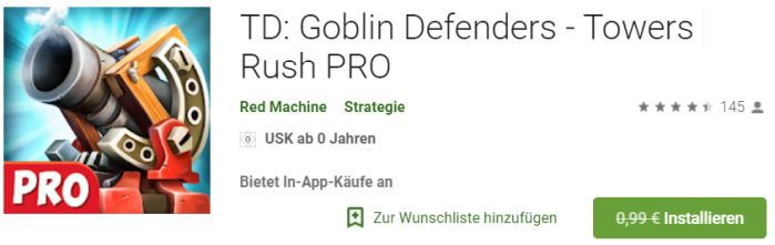 TD: Goblin Defenders   Towers Rush PRO (Android) gratis statt 0,99€