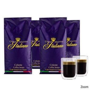 TOP 🔥 4kg Grand Maestro Italiano Celeste Kaffeebohnen + 2 doppelwandige Gläser für 29,99€ (statt 56€)