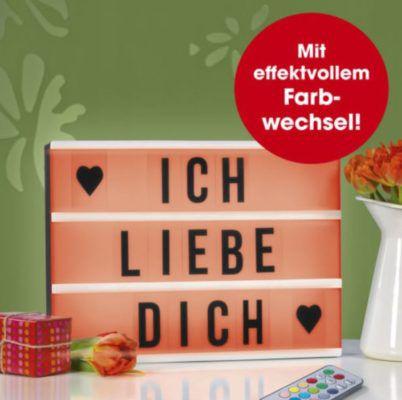 EASYmaxx LED Color Leuchtkasten in Schwarz/Weiß mit 173 Buchstaben + FB für 14,99€