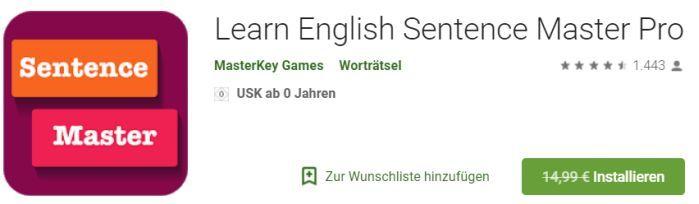 Learn English Sentence Master Pro (Android) gratis statt 14,99€