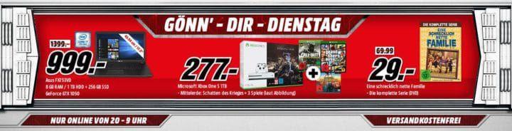XBOX ONE S 1TB + 4 Top Games für  277€ uvm. im Media Markt Dienstag Sale
