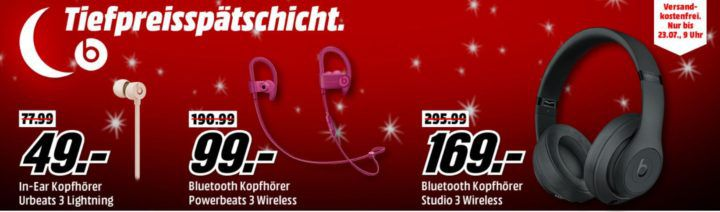 Top! Media Markt Beats Tiefpreisspätschicht: z.B. BEATS Tour 2 active, In ear Kopfhörer für 29€ (statt 128€)
