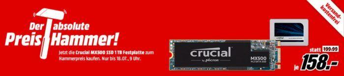 CRUCIAL MX500 1 TB SSD oder als M.2 für je 158€