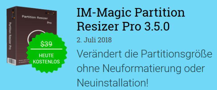 IM Magic Partition Resizer Pro 3.5 (Vollversion, Windows) gratis statt 39€