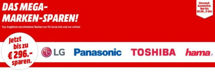 Media Markt Marken Sparen: günstige Artikel von LG, Panasonic, TOSHIBA und hama