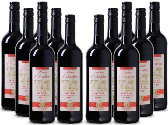 Baron dEmblème   Merlot 12 Flaschen trockener französicher Rotwein für 45€