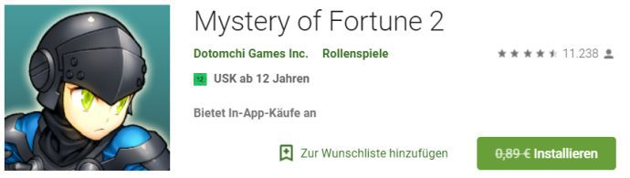 Mystery of Fortune 2 (Android) gratis statt 0,89€