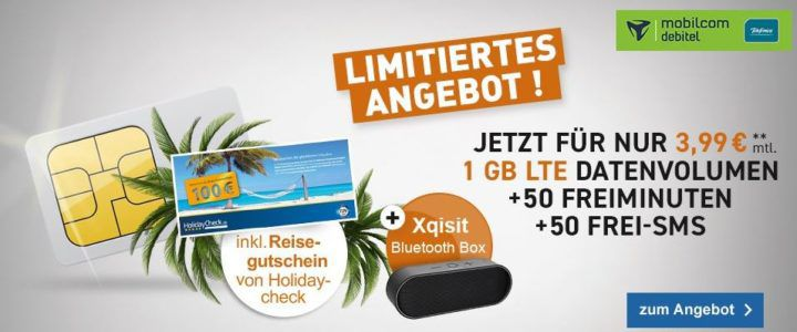 o2 Smart Surf Tarif mit 50 Min/SMS + 1GB für 3,99€ mtl. + 100€ HolidayCheck Gutschein + Xqisit xqS10 Lautsprecher für 9,99€