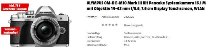 Media Markt Foto Late Night: z.B. OLYMPUS OM D E M10 Mark III für eff. 561€ (statt 694€)