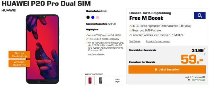 Huawei P20 Pro für 59€ + o2 Allnet Flat mit 20GB LTE für 34,99€ mtl.