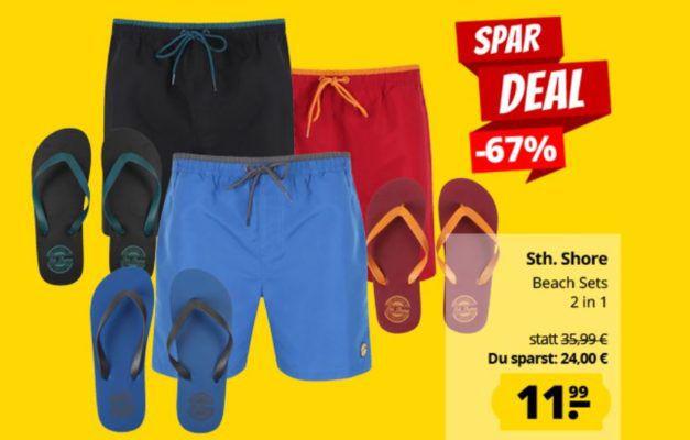 Sth. Shore Pembroke Beach Set Badehose + Zehentrenner für 15,94€