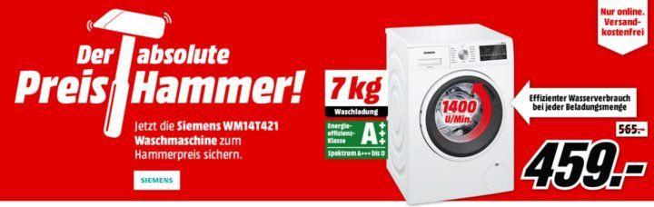 SIEMENS WM14T421 Waschmaschine (7 kg, 1400U/min) für 459€ (statt 500€)