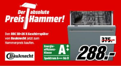 Bauknecht BBC 3B+26 X Geschirrspüler A++ für 288€ (statt 348€)