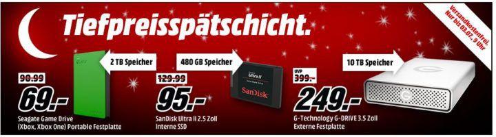 Media Markt Speicher Tiefpreisspätschicht günstige SSDs & Co. z.B. WD 500 GB ext. HDD für 29€ (statt 49€)