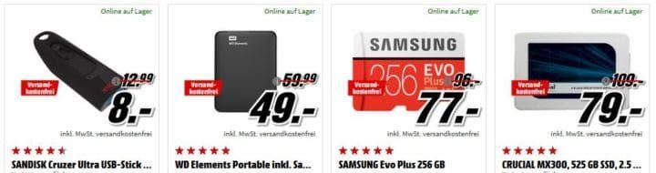 Media Markt Speicher Tiefpreisspätschicht günstige SSDs & Co. z.B. CRUCIAL MX300   525 GB SSD für 79€
