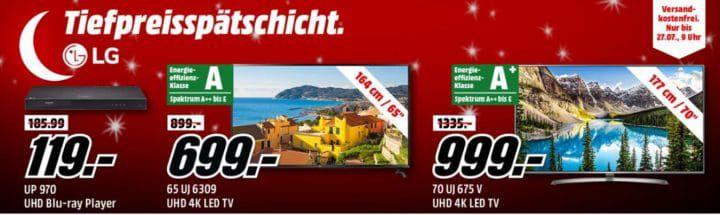 Media Markt LG Tiefpreisspätschicht   günstige TVs z.B. LG UP970 UHD Blu ray Player für 119€ (statt 159€)