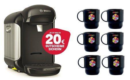 Bosch TASSIMO Vivy 2 Kaffeemaschine + 20€ Gutscheine + 6x Tupper Becher für 29,99€
