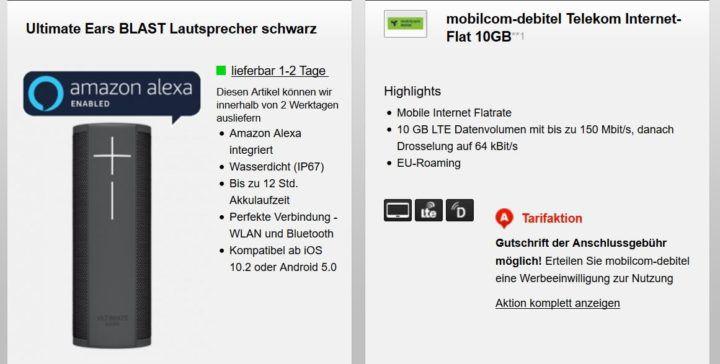 Telekom: 10 GB LTE (max. 150MBit/s) für 15,99€ mtl. + Ultimate Ears BLAST Lautsprecher für 29€ (statt 107€)