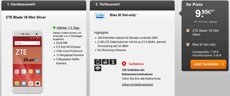 ZTE Blade V8 Mini für 9,95€ + Blau M mit 300 Freiminuten & 2 GB LTE Volumen für 7,99 mtl.
