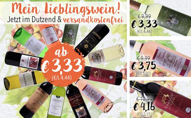 Verschiedene Weine im 12er Set ab 3,33€ pro Flasche + VSK frei