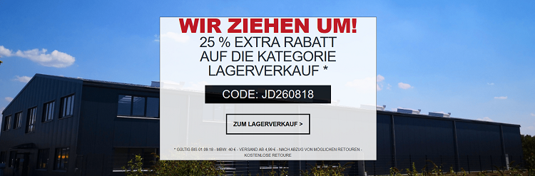 Jeans Direct mit 25% Extra Rabatt auf Lagerverkäufe