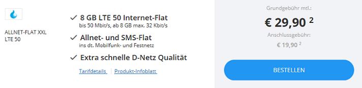 Sparhandy Allnet Flats bis zu 8GB + Telekom Netz (LTE) ab 12,90€ mtl.
