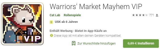 Warriors Market Mayhem VIP (Android) gratis statt 0,89€